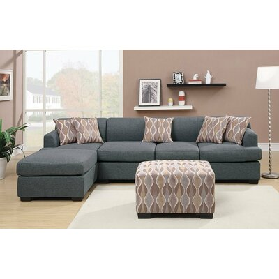 Reversible Chaise Sectional Upholstery: Blue Grey