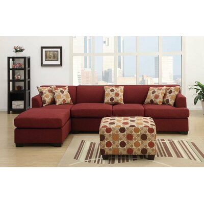 Reversible Chaise Sectional Upholstery: Dark Red
