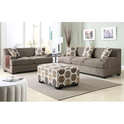 2 Piece Living Room Set Upholstery: Saddle Stone