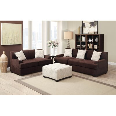 2 Piece Living Room Set Upholstery: Brown