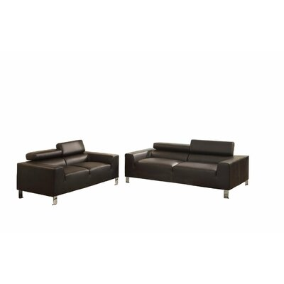 Sofa and Loveseat Set Upholstery: Dark Brown
