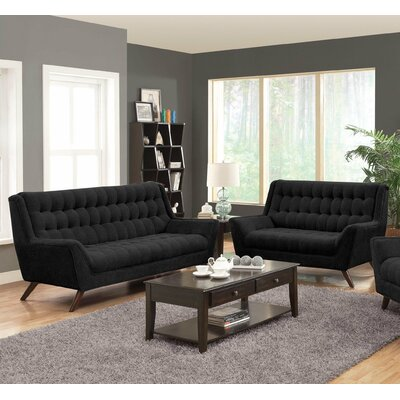 Kaden 2 Piece Living Room Set Upholstery: Black