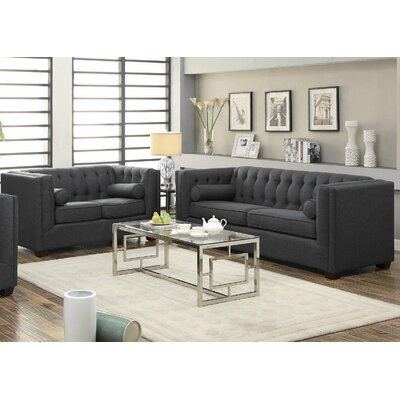 Sofa and Loveseat Set Upholstery: Charcoal Gray