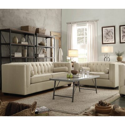 2 Piece Living Room Set Upholstery: Oatmeal White
