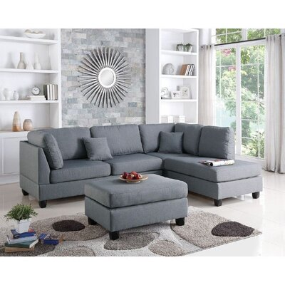 Infini Furnishings INF7606JBW Reversible Chaise Sectional Upholstery