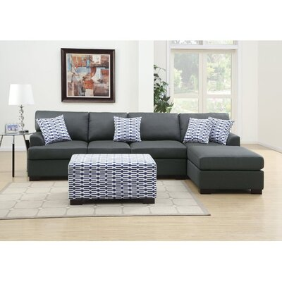 Infini Furnishings INF7990-2JB Reversible Chaise Sectional Upholstery