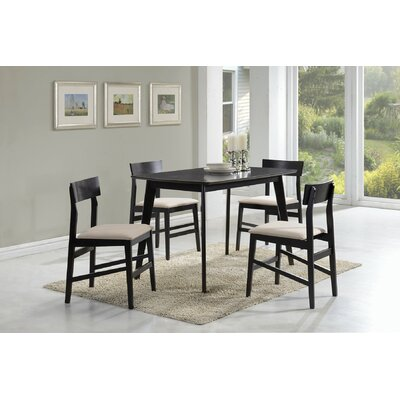 5 Piece Dining Set Upholstery: Beige