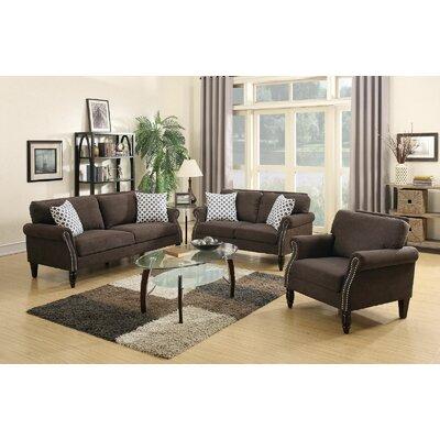 3-Piece Living Room Set Color: Dark Brown