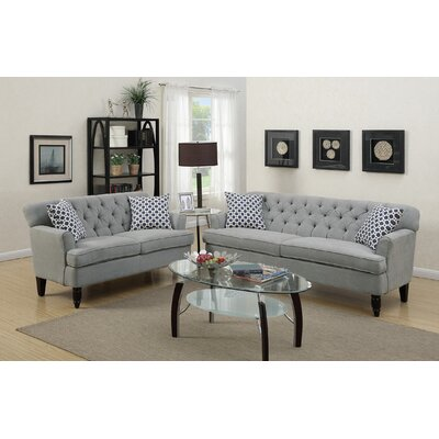 2 Piece Living Room Set Upholstery: Taupe Gray