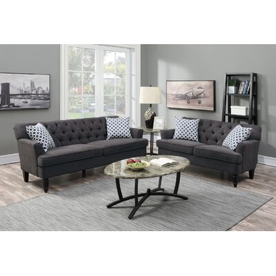 2 Piece Living Room Set Upholstery: Slate Charcoal