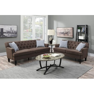 2 Piece Living Room Set Upholstery: Dark Brown
