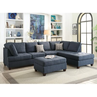 Reversible Chaise Sectional Upholstery: Dark Blue