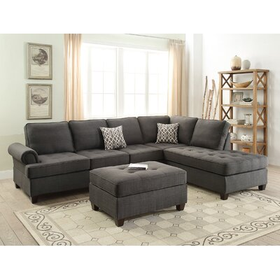 Reversible Sectional Upholstery: Charcoal Gray Black
