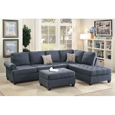 Infini Furnishings INF6991JBW Reversible Chaise Sectional Upholstery