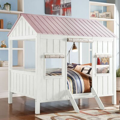 Cottage Full Bed Color: Pink/White