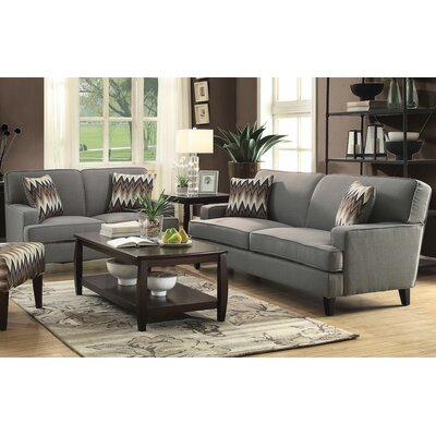 Hudson 2 Piece Living Room Set Upholstery: Cement Gray