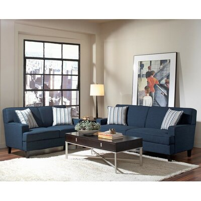 Hudson 2 Piece Living Room Set Upholstery: Ink Blue