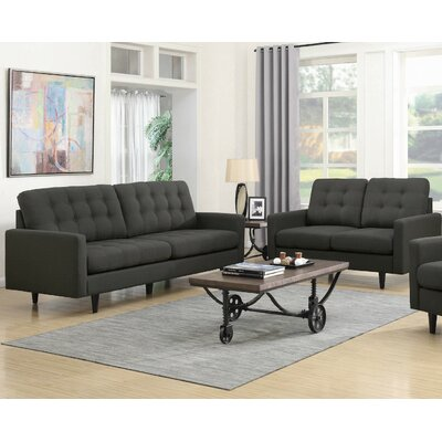 Rochester 2 Piece Living Room Set Upholstery: Charcoal Gray