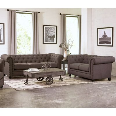 Geneva 2 Piece Living Room Set Upholstery: Dark Gray