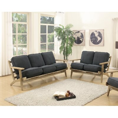 2 Piece Living Room Set Upholstery: Charcoal