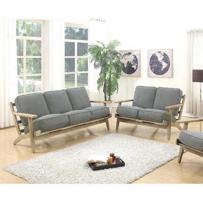 2 Piece Living Room Set Upholstery: Gray