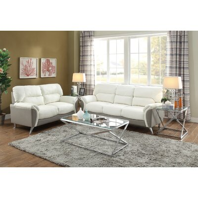 Bayshore Sofa and Loveseat Set Upholstery Color: White/Gray