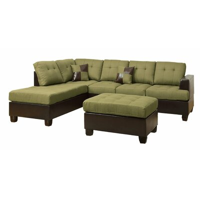 Reversible Chaise Sectional Upholstery: Green