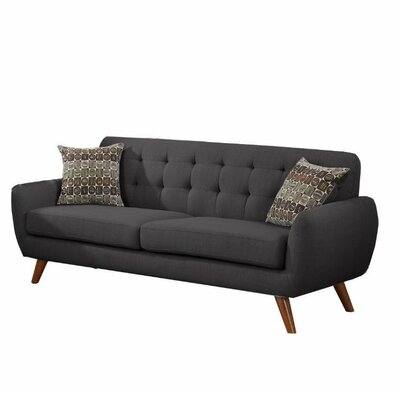 Retro Mid-Century Sofa and Loveseat Set Upholstery: Charcoal Gray
