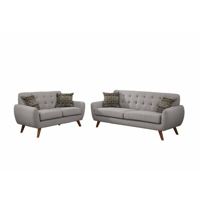 Retro Mid-Century Sofa and Loveseat Set Upholstery: Light Gray