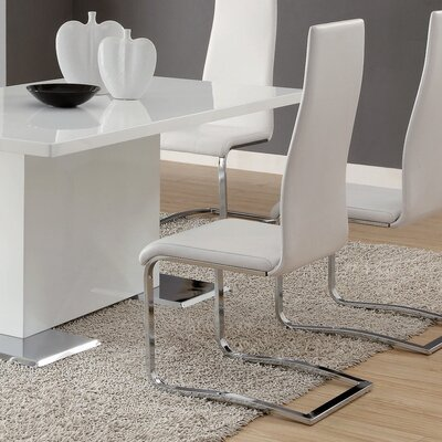 Modern Upholstered Dining Chair Upholstery: White