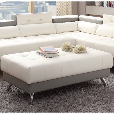 New Rochester Cocktail Ottoman Upholstery : White/Gray