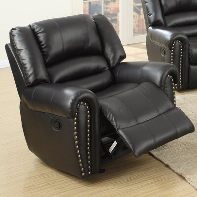 Ingaret Glider Leather Reclining Upholstery: Black