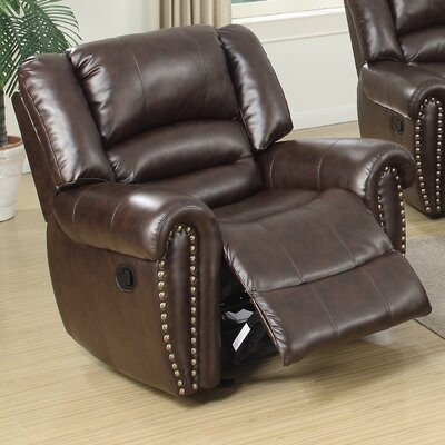 Ingaret Glider Leather Reclining Upholstery: Brown