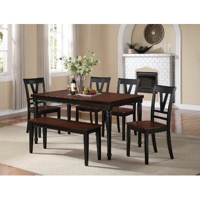 6 Piece Dining Set Finish: Slate Black