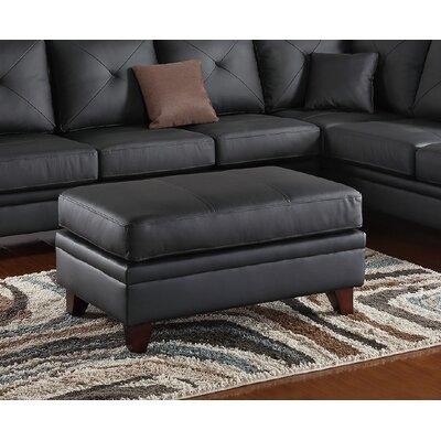 Capobianco Leather Ottoman Upholstery: Black