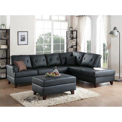 Ayotte Sectional Upholstery: Black