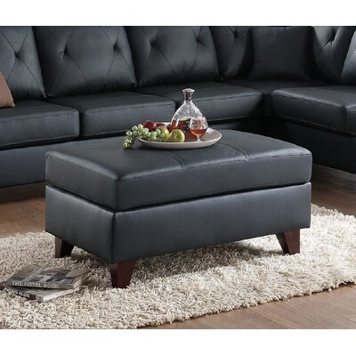 Frisby Leather Ottoman Upholstery: Black