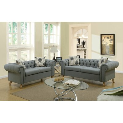 Champaign Sofa and Loveseat Set Upholstery: Gray