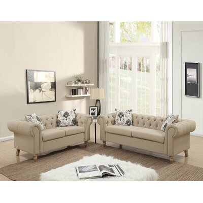 Champaign Sofa and Loveseat Set Upholstery: Tan