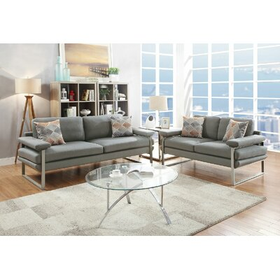 Bharti Sofa and Loveseat Set Upholstery: Gray