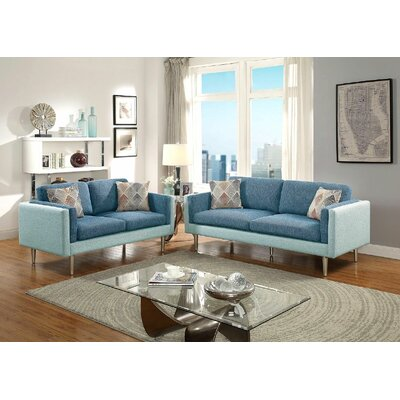 Upper Stanton Sofa and Loveseat Set Upholstery: Blue/Aqua