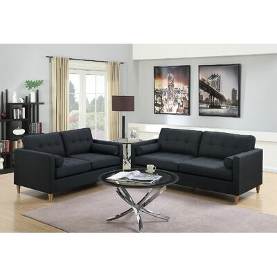 Engelhardt 2 Piece Living Room Set Upholstery: Black
