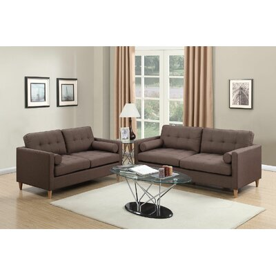 Engelhardt 2 Piece Living Room Set Upholstery: Chocolate