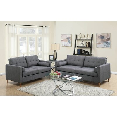 Engelhardt 2 Piece Living Room Set Upholstery: Gray