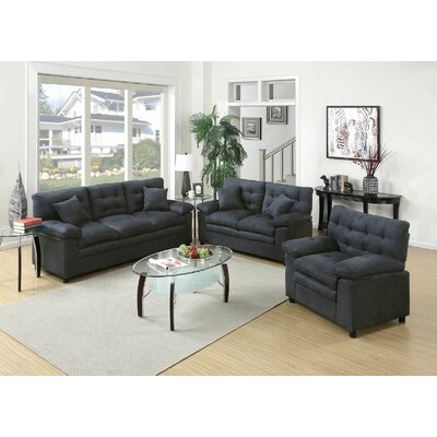 Hayleigh 3 Piece Sofa Loveseat Chair Set Upholstery: Gray