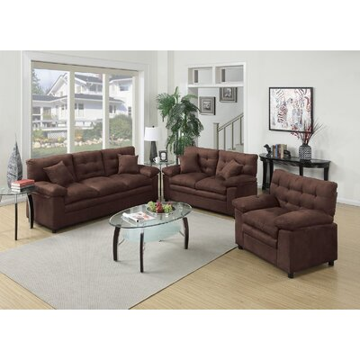 Hayleigh 3 Piece Sofa Loveseat Chair Set Upholstery: Chocolate