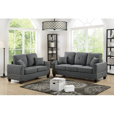 Champine Sofa and Loveseat Set Upholstery: Gray