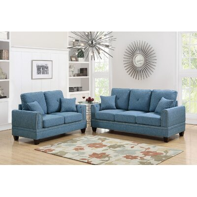 Champine 2 Piece Living Room Set Upholstery: Blue