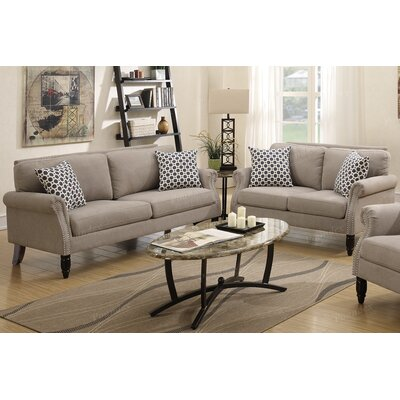 Chandlerville 2 Piece Living Room Set Upholstery: Tan