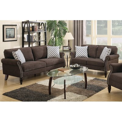 Chandlerville Sofa and Loveseat Set Upholstery: Dark Brown